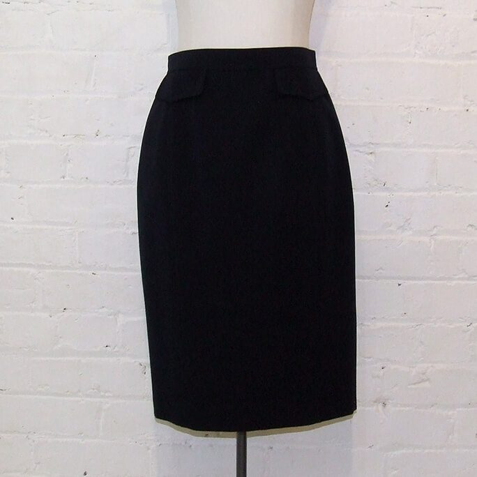 Wool skirt with patch pocket detail.