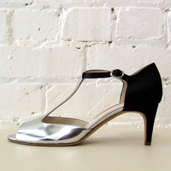 New Helmut peep-toe sandal with silver patent leather and silk-satin heel. Boxed, brand new!