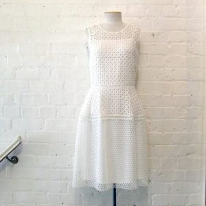 White cotton lace dress, lined.