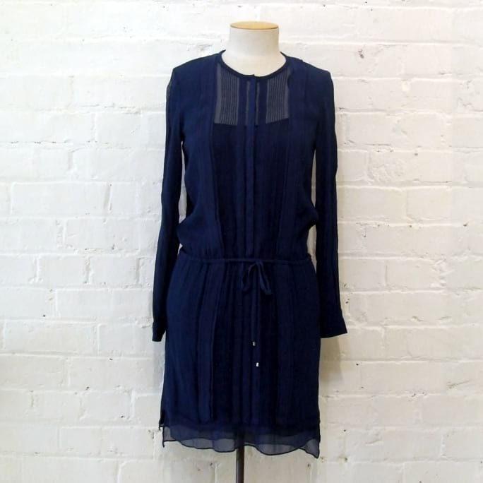 Blue shirt-style dress with drop waist, lined.