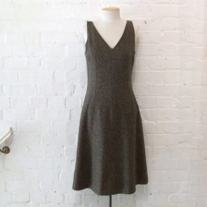 Tweed fitted a-line dress, silk lined.