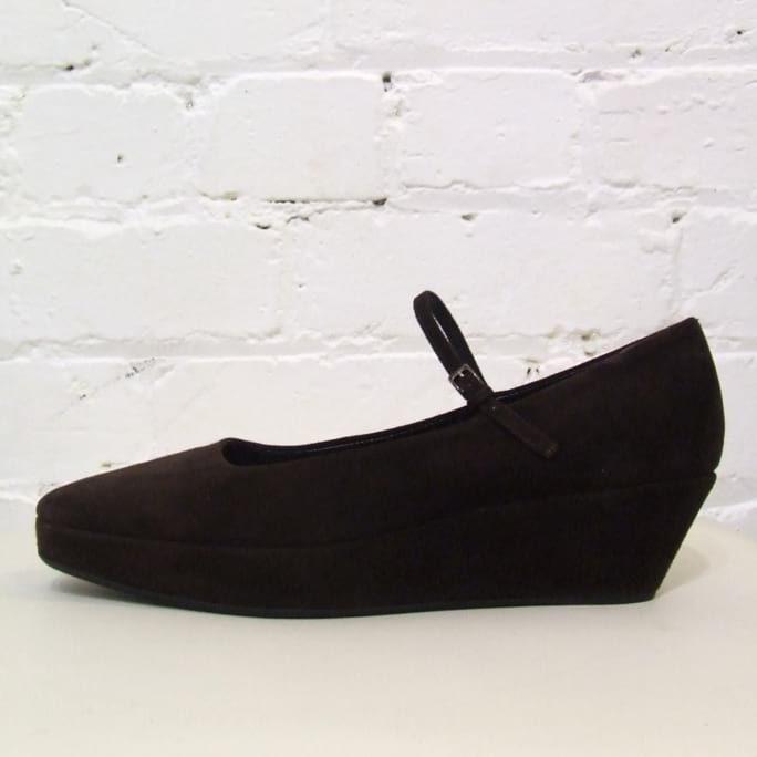 Chocolate suede wedge shoes. Look unworn, have original box.