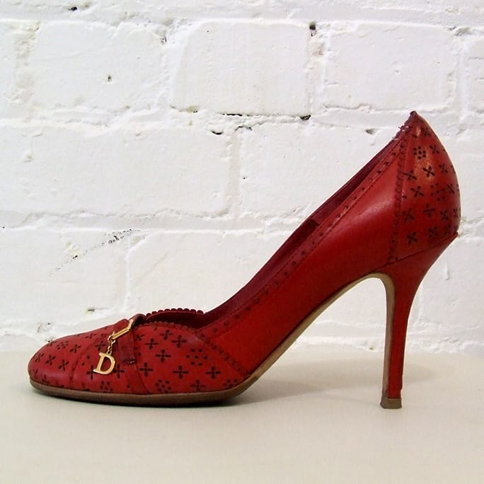 Red leather pump.