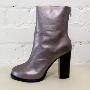Silver leather calf-length boot.