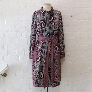Printed shirt dress with sash belt.