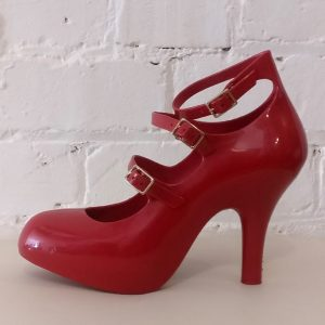 Red rubber classic 3-buckle pump, for Melissa.