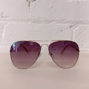 Aviator sunglasses, rose gold, with case.