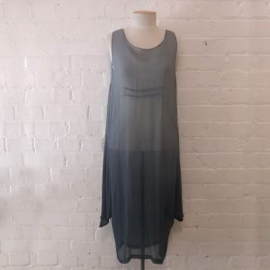 Grey silk dress with ombré effect.