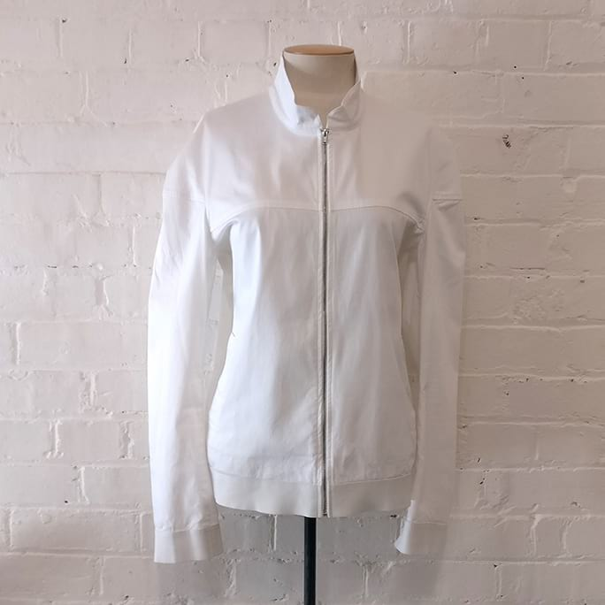 White cotton motorcycle jacket.