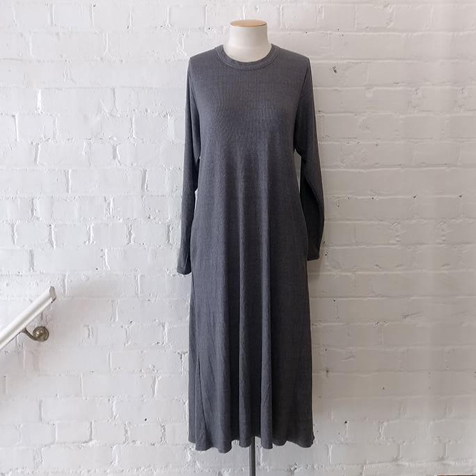 Folk grey marle long tee-shirt dress with pockets.