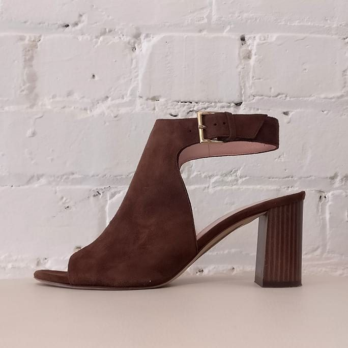 Brown suede peeptoe sandal with ankle strap.