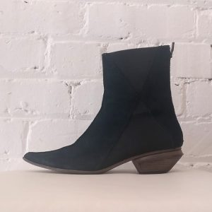 Suede zip-up ankle boot with cuban heel.