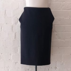 Black wool mix pencil skirt.
