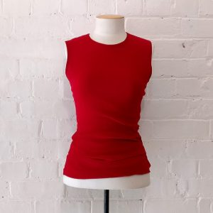 Red stretch tulle top.