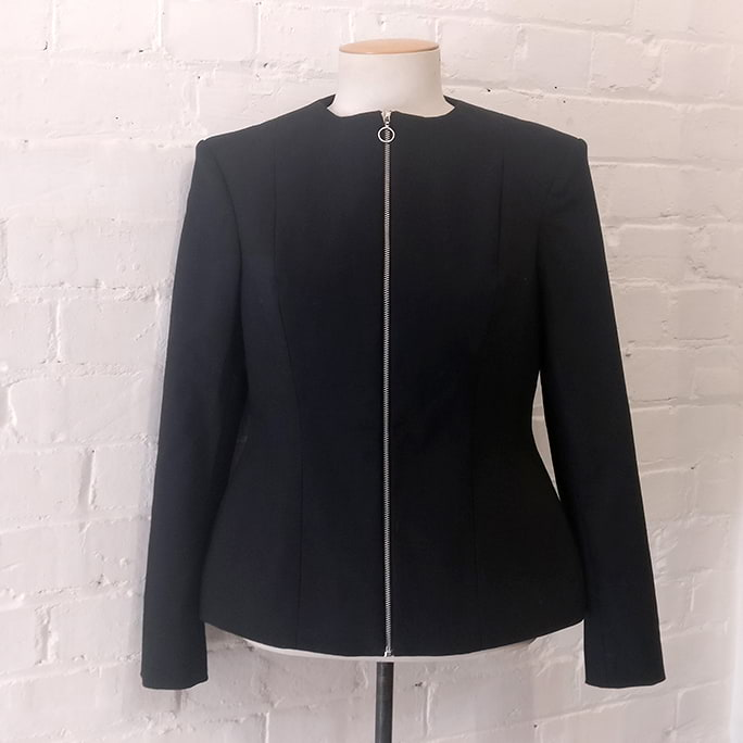 Black collarless Digital Love jacket. Original price tags still on!