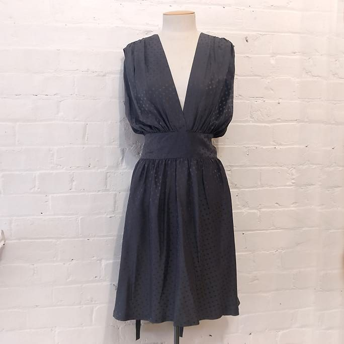 Grey polka dot dress, unlined.