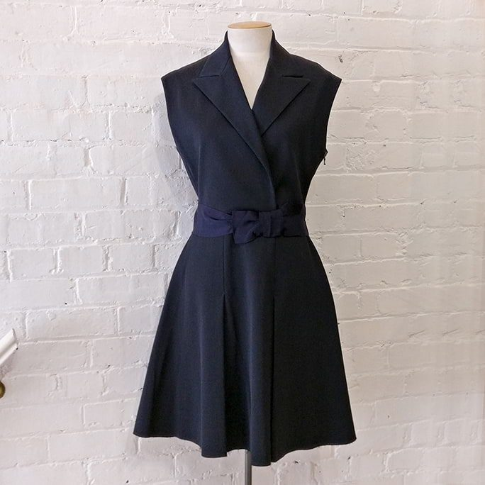 Midnight blue heavy pinafore dress.