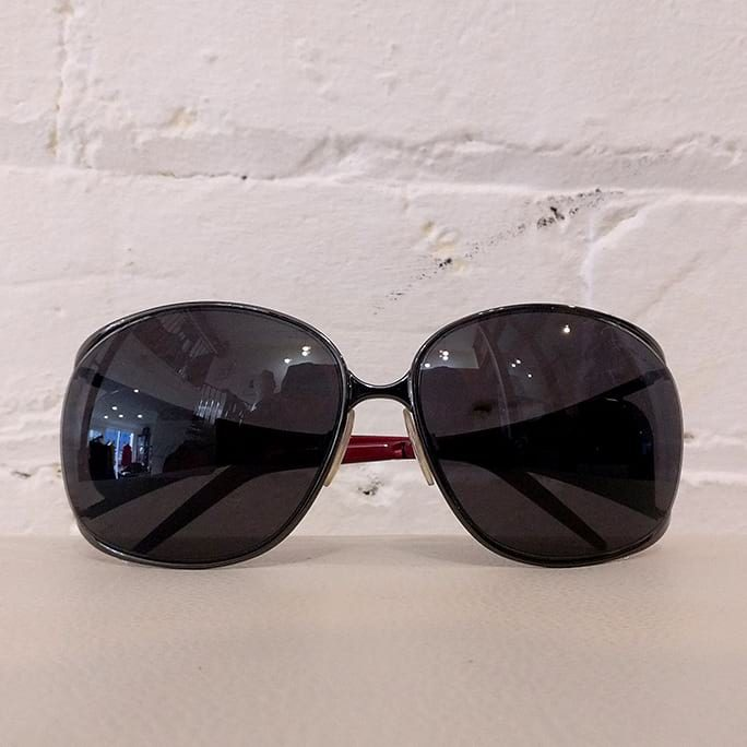 Metal frame sunglasses, with case.