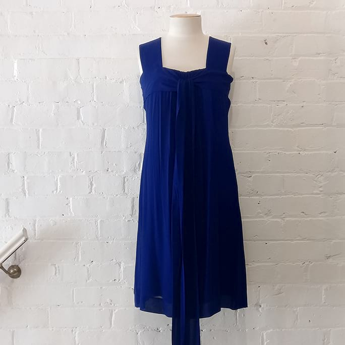 Indigo silk dress.