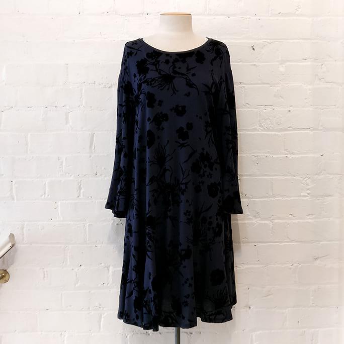 Cotton dress with floral flock print.