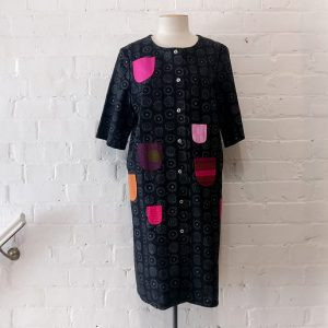 Printed cotton coat dress.