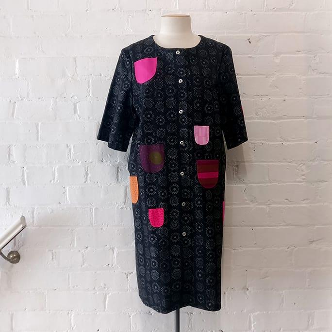 Printed cotton coat dress.