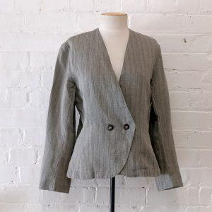 Grey woven linen jacket.