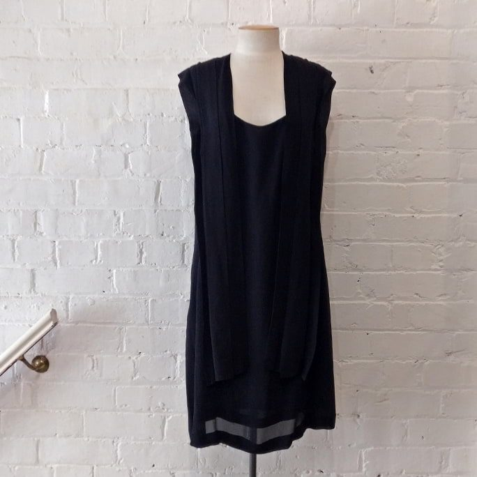 Black silk dress.