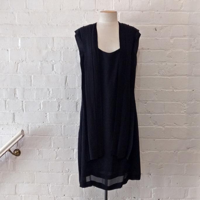 Black silk dress.