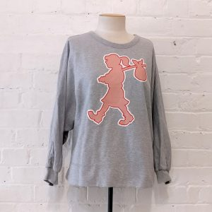 Grey marle sweatshirt with runaway icon.