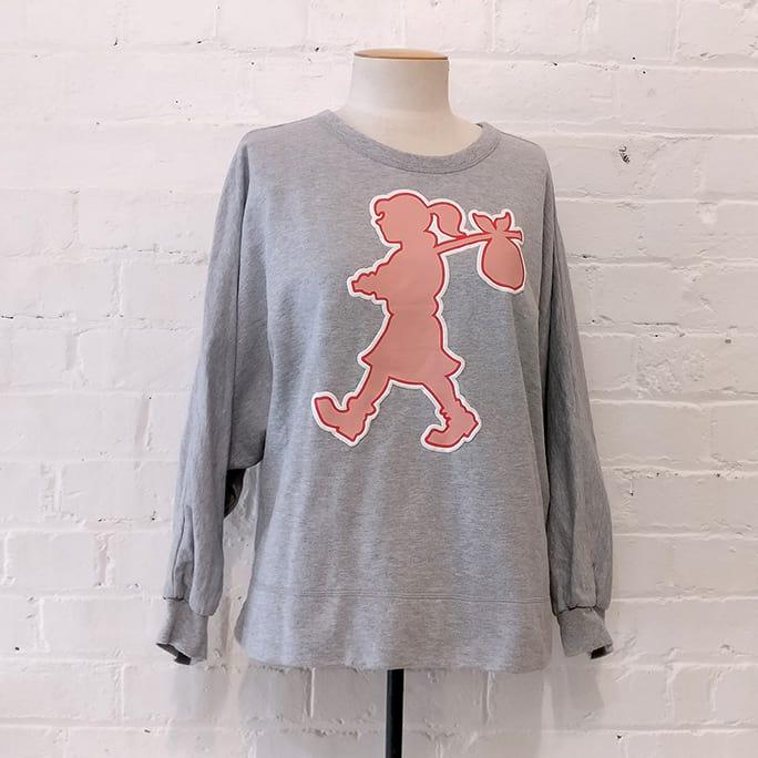 Grey marle sweatshirt with runaway icon.