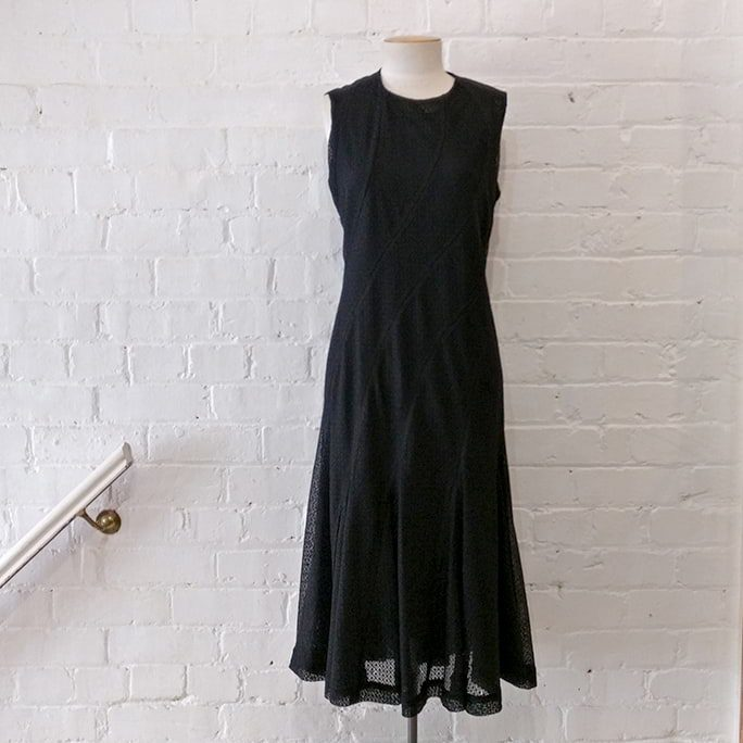 Black lace dress, lined.