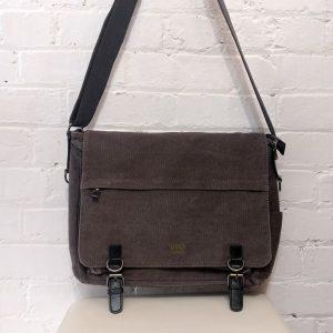 Heavy canvas messenger bag.