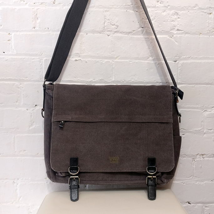 Heavy canvas messenger bag.