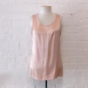 Pink silk shell top.