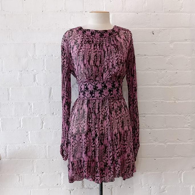 Silk dress with belt.