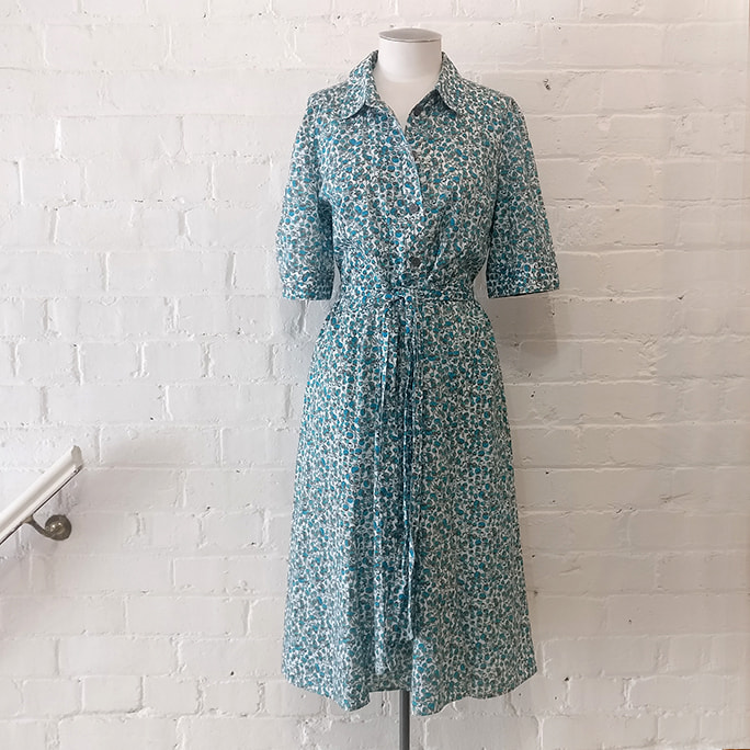 Floral shirt dress with Liberty-style print.