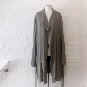 Soft trench coat with dropped waist belt, unlined.