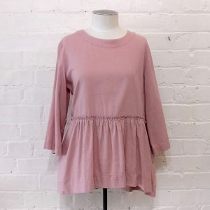 Dusty pink linen top with pockets.