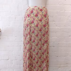 Pleated floral skirt.