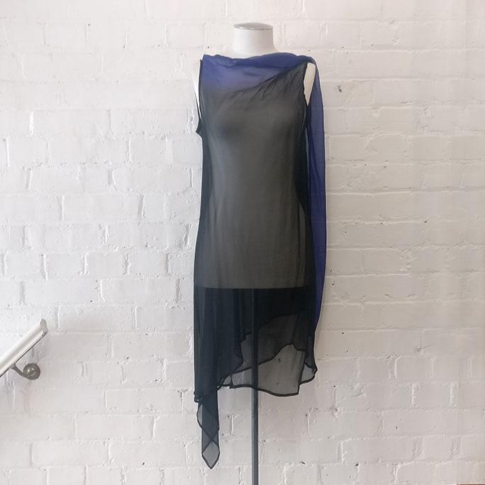 Sheer silk dress with deep V back.