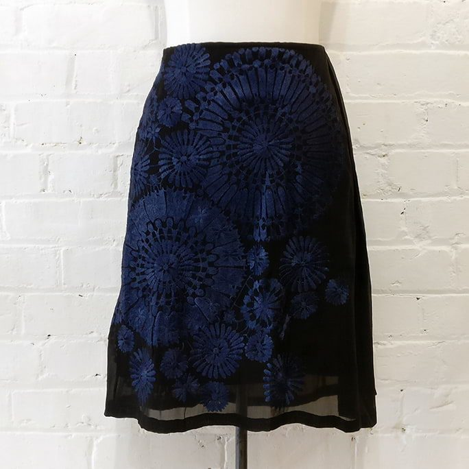 Embroidered silk skirt.