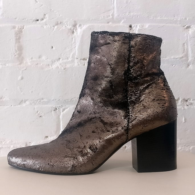 Distressed suede ankle boots.