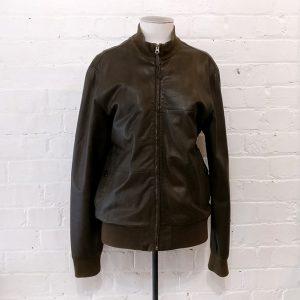 Dark olive bomber-style leather jacket.