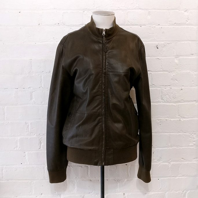 Dark olive bomber-style leather jacket.