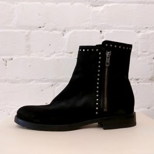Black nubuck zip-up boots.
