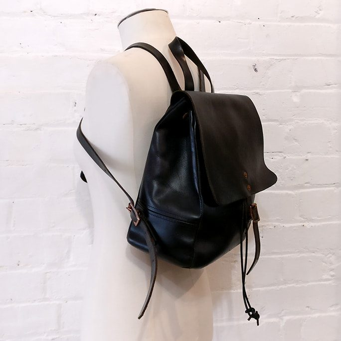 Black leather classic backpack.