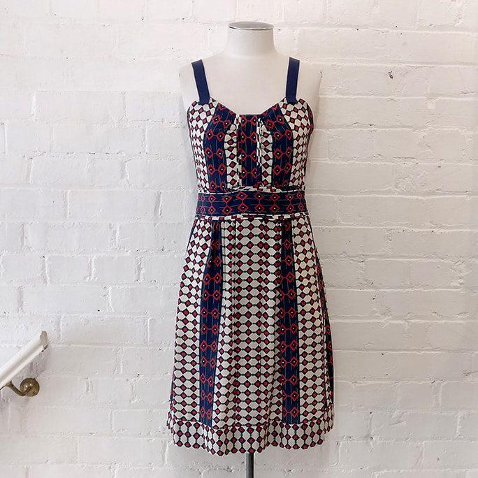 Printed silk dress.