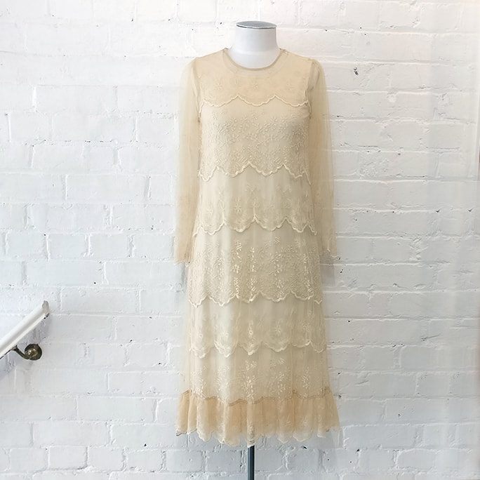 Lace dress with cotton slip.