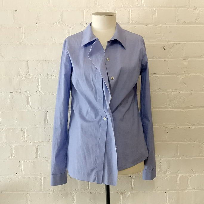 Blue Fly shirt with deconstructed front panel.